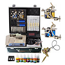 2 Steel Tattoo Gun Kit con Power LCD y 7 colores de tinta