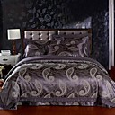 4PCS Purple Floral Jacquard Cotton Duvet Cover Set