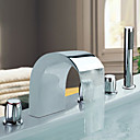 Chrome Finish Stainless Steel Widespread Contemporary Style Bathtub Faucets with Handheld Faucet