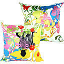 Conjunto de 2 Floresta capa de polister colorido Pillow decorativa