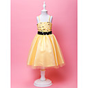 Ball Gown Spaghetti Straps Knee-length Organza Flower Gril Dress