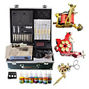 2 Gusseisen tattoo gun-Kit mit LCD Power und 7 * 10ML Farbe Ink