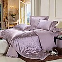 4PCS Purple Mosaic Jacquard Cotton Duvet Cover Set
