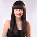 Capless Long Brown Straight Mixed Hair Wigs Full Bang