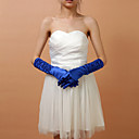 Satin Fingertips Elbow Length Wedding Bridal Blue Gloves