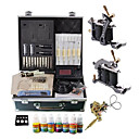 2 Cast Iron Tattoo Machine Gun Kit with LCD Power and 7 Colors Ink