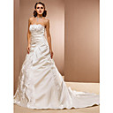 Ball Gown Scalloped-Edge Court Train Satin Wedding Dress