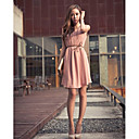 Women's Belted Sleeveless Chiffon Dress