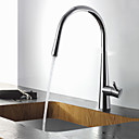 Contemporary Solid Brass Chrome Finish Pull Out Kitchen Faucet