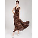 Women's Deep V Neck Leopard Maxi Dress