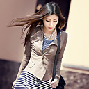 Fashionable Long Sleeve Collarless PU Casual/Party Jacket