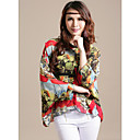 Women's Chiffon Plus Size Figure Print Shirt(Bust:Up to 130cm)