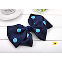 Women's Elegant Light Blue Dot Navy Blue Bow Hair Clip
