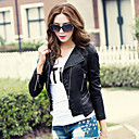 Long Sleeve Standing Collar PU Casual/Party Jacket