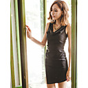 Women's Cowl Neck Contrast Color Sleeveless Bodycon Dress