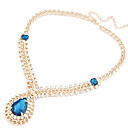 Women's Vintage Royal Diamond Drop Big Gemstones Necklace