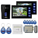 "New 7"" Color Hands Free Video Door phone with 2 Monitors(RFID keyfobs,Electronic Controlling Lock)"