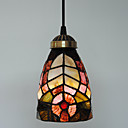 40W Nature Inspired Tiffany Single Pendant Light with Stained Glass Shade in Floral Design