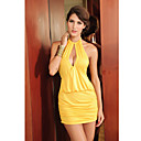 Yellow Elegant Halter Night Dress(Length:68cm Bust:86-102cm  Waist:58-79cm  Hip:90-104cm)