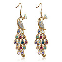 Charming Alloy Peacock Design Crystal Drop Earrings