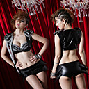 Cool Girl Uniform Black Style Punk Spandex Sexy (3 Pieces)
