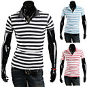Men's Fashion Wide Stripes Thin korte mouw T-shirt