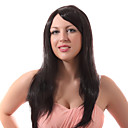 Lace Front Black Long Straight Mixed Hair Wigs with Twenty-percent Human Hair