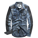 Men 's Cotton Denim Color Block Jean Jacket Outwear