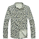Men's Floral Print Vintage Long Sleeve Shirt