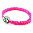 Candy Color Leather Zircon Ball Bracelet (assorterte farger)