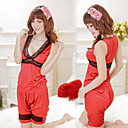 Women's Red Fashion V-Neck Pajama Set