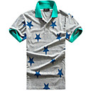 Men's Shirt Collar Short Sleeve Star Pattern T-shirt