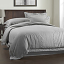 3PCS Gray Solid Linen Duvet Cover Set