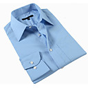 Men 's Blue Business Stripes Shirt Collar Men Work Long Shirts