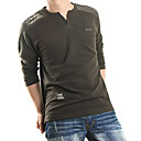 Men 's V Neck Cotton Long Ein T-Shirt
