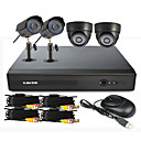 4 Channel One-Touch CCTV DVR Sistema Online (2 Cmara impermeable al aire libre y 2 Cmara domo para interiores)