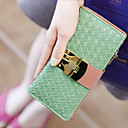 Women's Sweet Contrast Color Buckle Woven Wallet