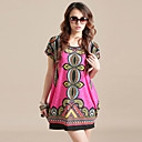 Women's ITY Plus Size Vintage Print Dress(Bust:110-128cm,Length:75cm)