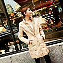 Women's Hooded Zip-up Long Down Coat with Pockets and Button Detail