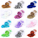12 Couleurs Paillette Glitter Powder Nail Art Décorations B (6.5gx12)