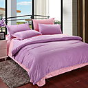 4PCS Purple & Pink Print Cotton Duvet Cover Set