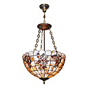 120W Artistic Tiffany Pendant Light with Nature Shell Material Integrated Shade in Butterfly Feature