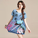 Women's ITY Plus Size Print Dress(Length:75cm)