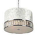 120W Modern Drum Pendant Light with 3 Lights and Silver Fabric Shade in Crystal Decor