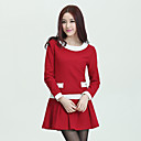 Women's Contrast Color Long Sleeve Dress