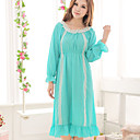 Water Blue Sexy Long Sleeve Chiffon Chemises & Gowns