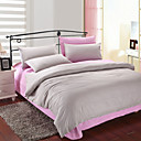 4PCS Gray & Pink Print Cotton Duvet Cover Set