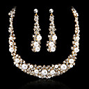 Gorgeous Alloy Imitation Pearl And  Czech Rhinestones Jewelry Set Including Necklace And Earrings(Silver And Gold)