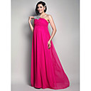 Sheath/Column One Shoulder Floor-length Chiffon Maternity Evening Dress