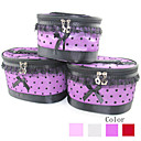 3PCS Cosmetic Makeup Pouch Portable Case Bag Set with Mirrors Fishnet Dot Lace Bowknot Red&Purple(Assorted Colors)